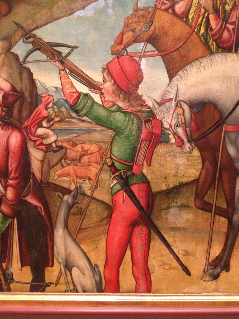 Panel from an alterpiece showing the Shooting of the Bull on Mount Gargano and the Episcopal Procession to Mount Gargano, c.1515, Palaquinos Master, at the Philadelphia Museum of Art